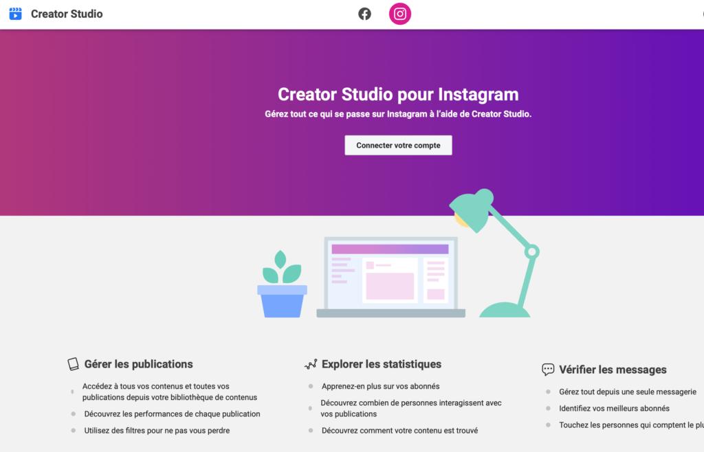 Creator Studio gérer ton compte instagram